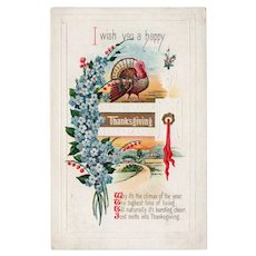 ca1910 Embossed I Wish You A Happy Thanksgiving Postcard Turkey & Poem