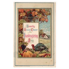 1918 Germany Embossed Hearty Good Cheer For Thanksgiving Postcard Turkey John Winsch