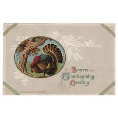 1913 John Winsch Embossed Thanksgiving Greeting Postcard w/ Turkey