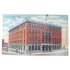 1944 Omaha Nebraska YMCA Building Vintage Linen Postcard