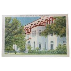 1940's YMCA Building Corsicana Texas Vintage Linen Postcard