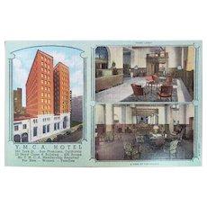 1940s YMCA Hotel Building 351 Turk St San Francisco California Vintage Linen Postcard