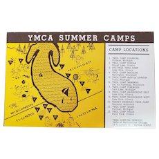 1960's YMCA Of Metropolitan Chicago Summer Camp Locations Vintage Postcard