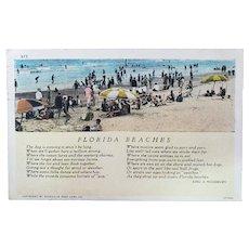 1930 Florida Beaches Vintage Postcard