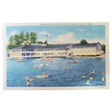 1940's Curt Teich Sherman's Bathing Beach West Caroga Lake New York NY Vintage Linen Postcard