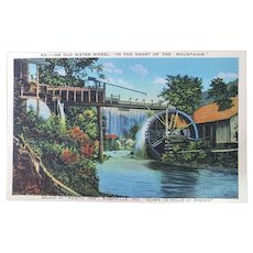 1940's An Old Water Wheel In The Heart Of The Mountains Vintage Linen Postcard