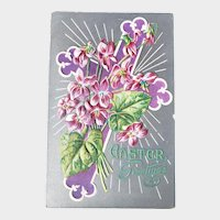 ca 1910 Easter Greetings Embossed Postcard Purple Cross & Flowers