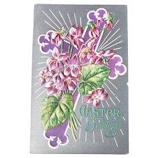 ca 1910 Easter Greetings Embossed Postcard Purple Cross & Flowers