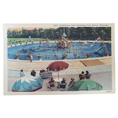1952 Washington Park Swimming Pool Racine Wisconsin Vintage Linen Postcard