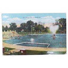 1947 Swimming Pool Centralia Illinois IL Vintage Linen Postcard