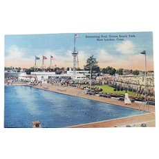 1940's Swimming Pool Ocean Beach Park New London Connecticut CT Vintage Linen Postcard