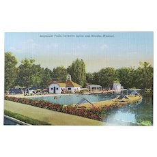 1940's Sagmount Pools Between Joplin and Neosho Missouri Vintage Linen Postcard