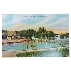 1940's Swimming Pool Read Park Freeport Illinois IL Vintage Linen Postcard