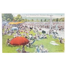 1940's Coney Island Sunlite Swimming Pool Cincinnati Ohio OH Vintage Linen Postcard
