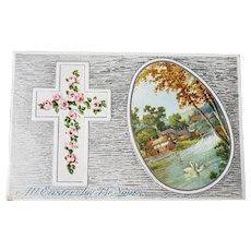 ca1910 All Easter Joy Be Yours Embossed Vintage Postcard Cross with Flowers & Easter Egg