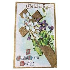 ca1910 Christ Is Risen A Joyful Easter Greeting Vintage Embossed Postcard