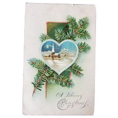 1907 A Merry Christmas  Vintage Embossed Postcard