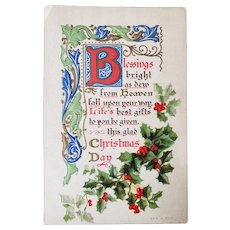 ca1910 Blessings on Christmas Day Vintage Embossed Postcard