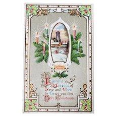 1911 J.J. Marks NY Embossed Merry Christmas Vintage Postcard