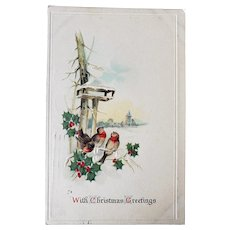 1911 With Christmas Greetings Vintage Embossed Postcard