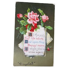 1910 Vintage Embossed Greetings Postcard