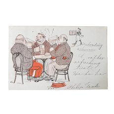 1907 Men Drinking Beer & Smoking Undivided Back Postcard