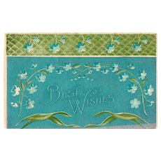 ca1910 Best Wishes Greetings Vintage Postcard Metallic Blue with Flowers