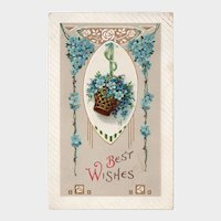 1914 Best Wishes Vintage Postcard Basket of Blue Flowers Printed in Germany