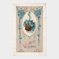 1914 Best Wishes Vintage Postcard Basket of Blue Flowers Printed in Germany