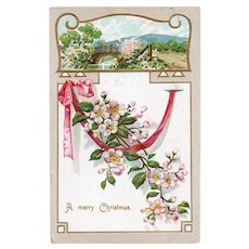 1908 Undivided Back A Merry Christmas Postcard with Pink Ribbon & Flowers
