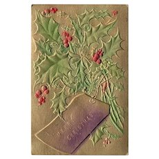 1909 Embossed Airbrushed A Merry Christmas Vintage Postcard Holly Leaves