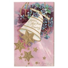 ca1900 Joyous New Year Greeting Vintage Postcard Undivided Back Bell & Stars