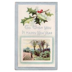 1912 To Wish You A Happy New Year Vintage Postcard Farm Scene Holly & Berries