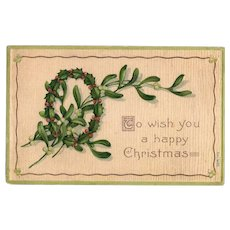 1908 To Wish You A Happy Christmas Vintage Greetings Postcard