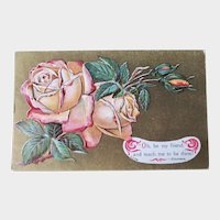 ca1910 Vintage Embossed Postcard Gold with Roses & Emerson Quote