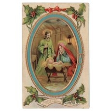 1910 Mary Joseph Baby Jesus Embossed Vintage Christmas Postcard