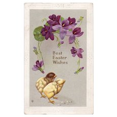 ca1910 Best Easter Wishes Vintage Embossed Postcard With Chicks Purple Flowers
