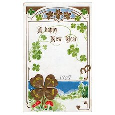 1908 A Happy New Year Vintage Embossed Postcard Clovers & Horseshoes