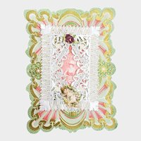 Victorian Best Wishes Die Cut Greeting Card