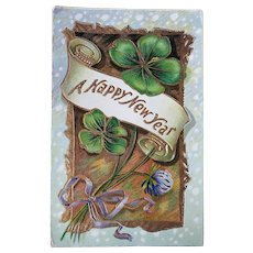 ca 1910 A Happy New Year Vintage Embossed Postcard with Clovers