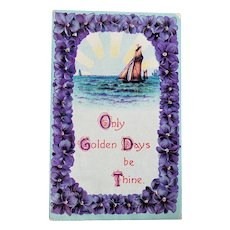 ca 1910 Only Golden Days Be Thin Embossed Vintage Postcard
