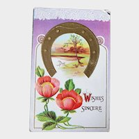 1912 Embossed Wishes Sincere Vintage Postcard Horseshoe & Flowers