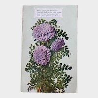 ca 1910 Postcard with Lavender Chrysanthemums & Poem