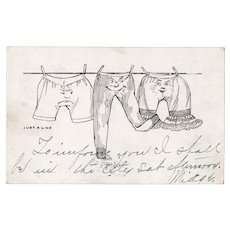 1907 Undivided Back Underwear with Faces on a Clothesline Humor Postcard