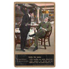 1913 Two Businessmen Talking about Salaries Humor Postcard
