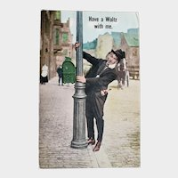 1913 Have A Waltz With Me Drunk Man on Light Post Vintage Comic Postcard
