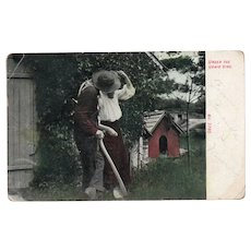 1909 Under The Grapevine Couple Kissing Vintage Humor Postcard