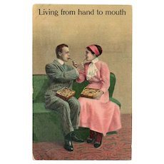 1911 Living From Hand To Mouth Man & Woman Feeding Each Other Humor Postcard