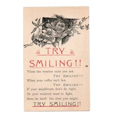 ca1910 Try Smiling Vintage Postcard Lady With Hat & Flowers
