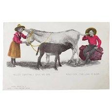 ca1905 Frank Thayer Burro Series No 5 Comic Postcard Boy & Girl using Donkey as a Phone